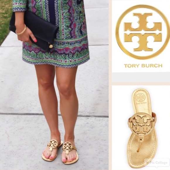de4dec429e9e8 TORY BURCH MILLER SANDALS FLIP FLOPS METALLIC GOLD.  M 5a9365fe8290af6215d94cd8